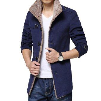 Harga Gracefulvara Men's Slim Parka Fleece Winter Warm Jacket Trench Coat Casual Overcoat-Navy