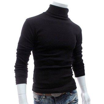 Harga Gracefulvara Mens Thermal Cotton Turtle Neck Skivvy Turtleneck Sweaters Stretch Shirt - Black