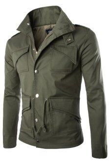 Harga Gracefulvara Men's Military Style Fit Slim Stand Collar Coat Jacket Fashion Overcoat (Army Green)