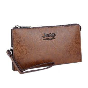 Harga Jeep Men Handbags First Layer of Cowhide Leather Clutch Business Casual Wallet Large Capacity Purse Card Holders (Brown)