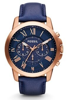 Harga Fossil FS4835 Grant Chronograph Leather Watch (Blue)(44)