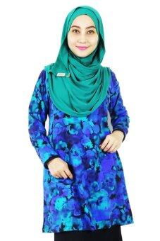 Harga Aqeela Muslimah Wear Basic Abstract Blue Top