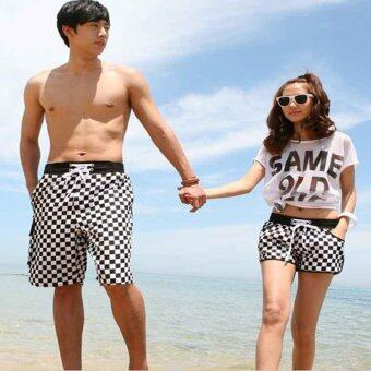 Harga Women and men couple beach pants Quick dry Plaid shorts Summer beach wear Lover shorts Hot shorts Women