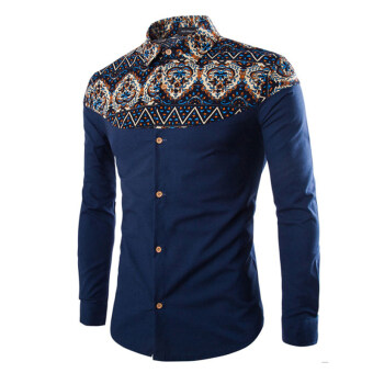 Harga Autumn new men's national wind printing Korean fashion casual long-sleeved shirt bottoming shirt navy