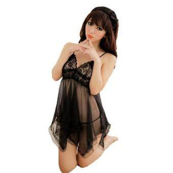 Harga Loveena Fancy Lace Babydoll Lingerie Nightwear (Black)