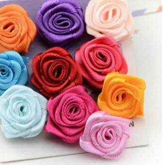 Harga 250pcs DIY handmade accesories ribbon multi-color rose flower for decoration