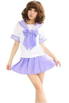 Harga Sexy Role Play Costume Lingerie Fancy Dress Sailor Uniform (Purple)