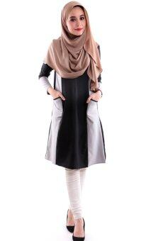 Harga JF Fashion Ammara Color Block Blouse M380 (Black)