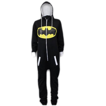 Harga Fancyqube Fashion Unisex Batman Superman Cartoon Long Sleeve Hooded Sweatshirts Casual Couple Home Clothes Black Blue 9238 Black - Intl