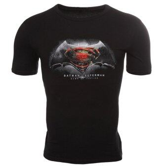 Harga Fancyqube Men Fashion Batman Superman Short Sleeve T-shirt Black -