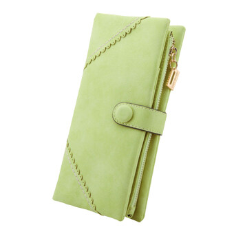 Harga Sanwood Women Leather Wallet Bifold Button Clutch Purse Lady Long Handbag Wallets(Light Green)