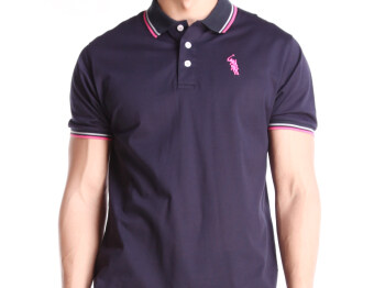 Harga BGM POLO MEN POLO SHIRTS (BLACK WITH PINK STRIPES)