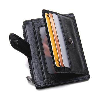 Harga Thin Genuine Leather Men Wallet Small Casual Wallets Purse Card Holder Coin Mini Bags Top Quality Cow Leather