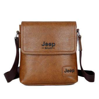 Harga Jeep Men's Fashion Leather Crossbody Bag Business Casual Shoulder Bag-Brown
