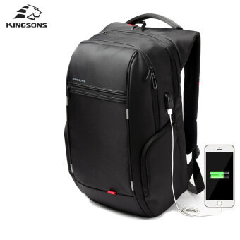 "Harga Kingsons 15""17"" Laptop Backpack External USB Charge Computer Backpacks Anti-theft Waterproof Bags for Men Women"