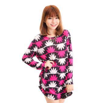 Harga LuvClo (Fit M~3XL) Fashion Style Maple Leaf Printed Long Sleeves Top (Rose Red)