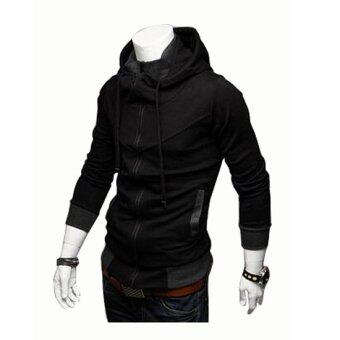 Harga Men's fashion casual Slim hit the color hooded Sweatshirtscoat black