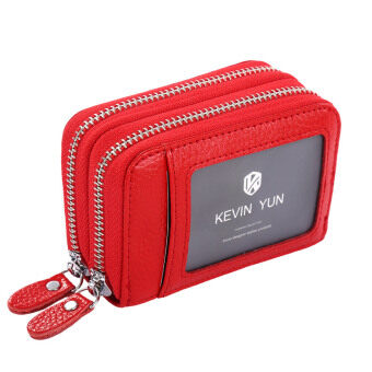 Harga KEVIN YUN Women ID Card Holder Leather Double Zipper Ladies Credit Card Case Wallet Red