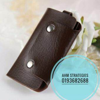 Harga CAR KEYCHAIN KEY HOLDER PU LEATHER BAG CASE WALLET COVER (DARK BROWN)