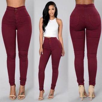 Harga Imixlot Sexy Women Skinny Pants High Waist Stretch Slim Pencil Trousers(Wine Red)