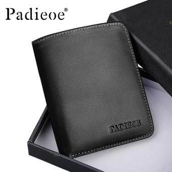 Harga Padieoe New Arrivals Men's Wallet Casual Genuine Leather Card Holder Mini Wallets Solid Black Soft Youth Wallet 4.2inch