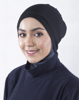 Harga EDZ Audrey Snow Cap Muslimah Soft Cotton Knitted Inner Hijap in Dealer Black