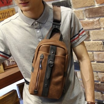 Harga Leisure Chest Pack Crazy Horse Male Package Man SATCHEL BAG Sling Bag (Coffee)
