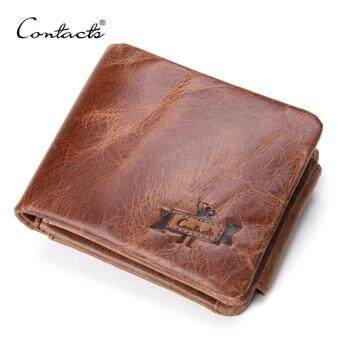 Harga CONTACT'S Genuine Crazy Horse Leather Men Wallets Vintage Trifold Wallet Zip Coin Pocket Purse Cowhide Leather Wallet For Mens