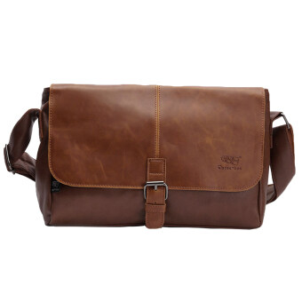 Harga 360DSC Three-box British Style PU Leather Flap-Over Cross Body Bag Messenger Shoulder Bag Mens Bag - Light Coffee
