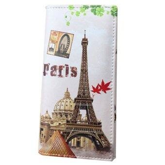 Harga Fashion Women Long Wallet PU leather Paris Flags Eiffel Tower Style Wallet - Intl