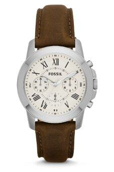Harga Fossil Men's Grant Chronograph Brown Leather Strap Watch FS4839