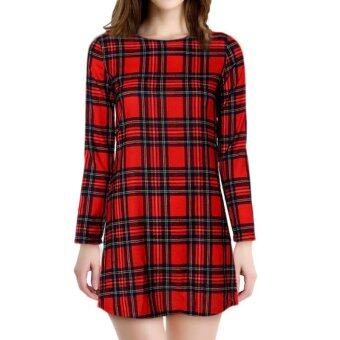 Harga Cocotina OL Womens Long Sleeve Checks Plaids Slim Short Mini Work Dress Long Tops (Red)