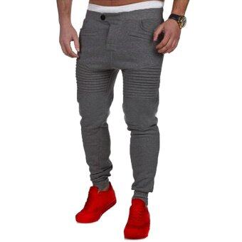 Harga Gracefulvara Men's Jogger Dance Sportwear Baggy Harem Pants Stripes Slacks Trousers Sweatpants-Deep Grey