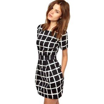 Harga Gracefulvara Women Summer Casual Slim Fit Dresses Short Sleeve Party Short Mini Plaid Dress