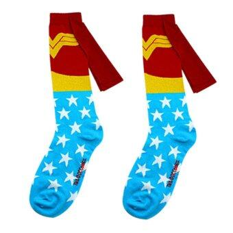 Harga 1 pair socks men Cotton Superman+Batman Long Superhero Socks with Cloak Socks Wonder Woman