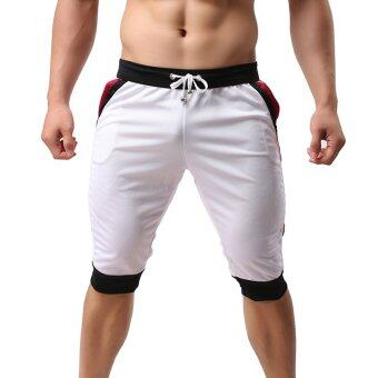 Harga Gracefulvara Men Sports Gym Jogger Training Athletic Beach Shorts Pants Casual Cropped Trousers (White)