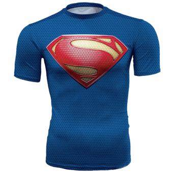 Harga Hequ new hot compressed T shirt superman and batman short sleeved T shirt quick drying clothes men's health movement Blue