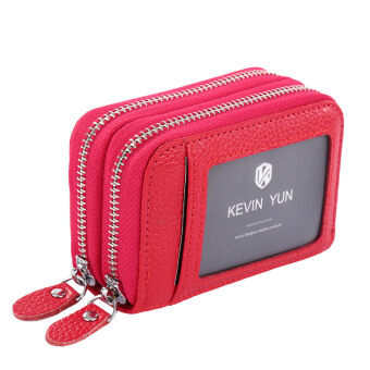 Harga KEVIN YUN Women ID Card Holder Leather Double Zipper Ladies Credit Card Case Wallet Rose