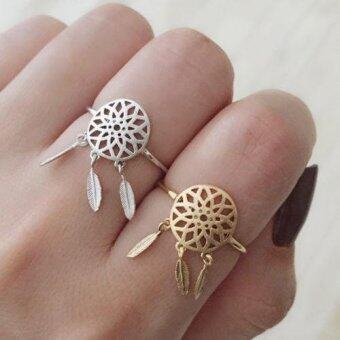 Harga Fashion Silver Feather Dreamcatcher Rings For Women Girl Jewelry Silver Rings Adjustable Finger Rings