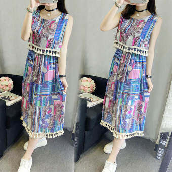 Harga National Style Summer Flora Print Beach Maxi Casual Dresses National Style Sleeveless Bohemian Traveling Holiday Wild Party Dress Color No.3 YM-08A3