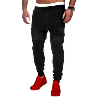 Harga Gracefulvara Men's Jogger Dance Sportwear Baggy Harem Pants Stripes Slacks Trousers Sweatpants-Black