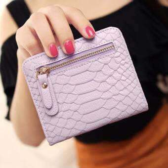 Harga Hot Sale Women's Mini Short Wallets PU Serpentine Leather Women Wallet Purses (Purple)