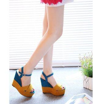 Harga New Fish Head Sandals Elegant Ladies Waterproof High With Thick Crust Slope With Shoes(Yellow)