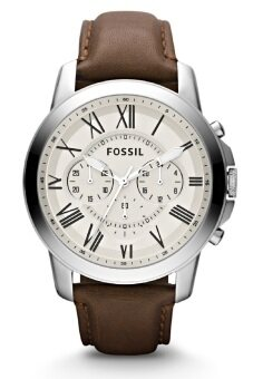 Harga Fossil Men's Grant Chronograph Brown Leather Strap Watch FS4735