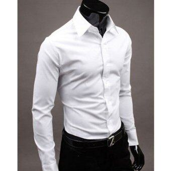 Harga Moonar Fashion Pure Color Style Slim Shirt Men Casual/Fornak Style Long-Sleeve Shirt M-XL (White)