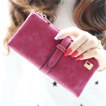 Harga 2016 Lady Women Wallets Drawstring Handbags Leather Zipper Wallet Purse Fold Clutch Card Holder(Red)