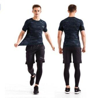 Harga Men's Sports Suit Quick Drying Gym Athletic Wear Tight Fitness Wear Running Clothes Short Sleeve Large Size Three Piece Suit