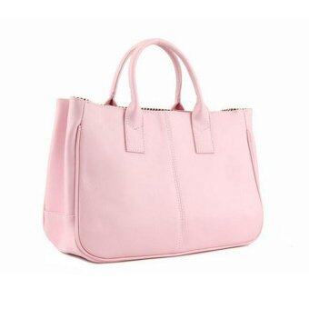 Harga Fashion Elegant Korean shoulder bag Leather Women Lady Tote Handbag Pink