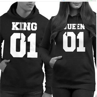 Harga King & Queen Hooded Long-sleeved Loose Couple Fleece Tops(woman's)
