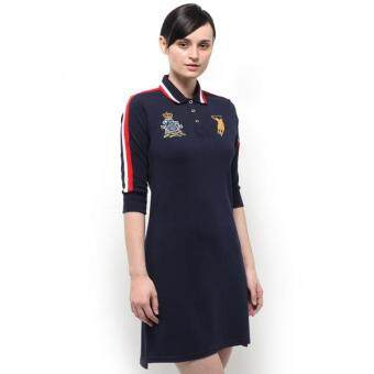 Harga Polo Haus - Tipped Collar Racer Polo Dress (Dark Blue)